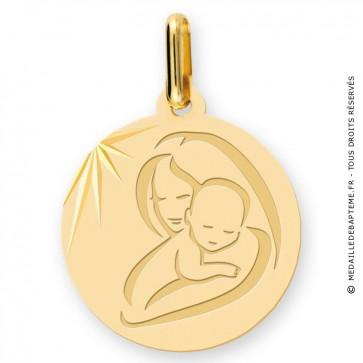 Médaille vierge à l'enfant moderne (Or Jaune)