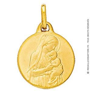 Médaille Vierge à l'enfant debout (Or Jaune)