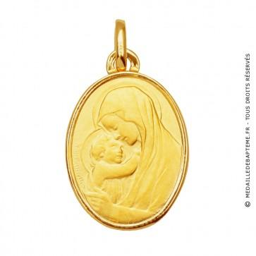 Médaille Vierge à l'enfant ovale (or jaune 18 carats)