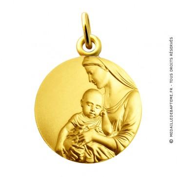 Médaille Vierge à l'enfant sérénité Martineau (Or jaune)