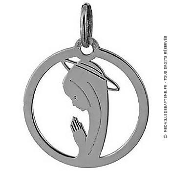 Médaille Augis Vierge auréolée ajourée (Or Blanc)
