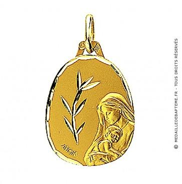 Médaille Augis Vierge au rameau (Or Jaune)
