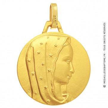 Médaille Vierge au voile étoilé or jaune - médaille de baptême