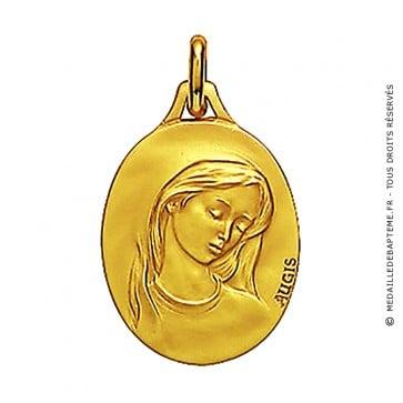 Médaille Augis Vierge au voile ovale (profil 3/4 droit) (Or Jaune)
