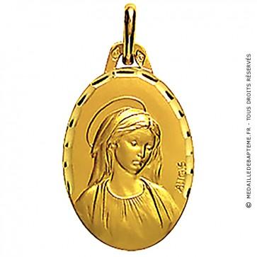 Médaille Augis Vierge profil droit ciselée ovale (Or Jaune)