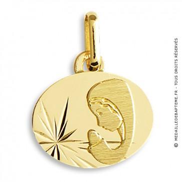 Médaille Vierge ciselée (Or Jaune)