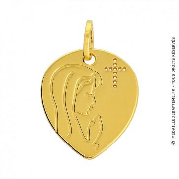 Médaille Vierge en prière et croix ajourée coeur (Or Jaune 9K)