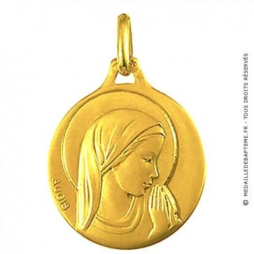 Médaille Augis Vierge en prière (profil droit) (Or Jaune)