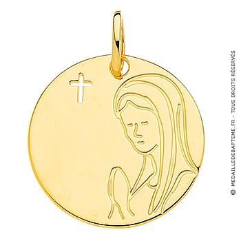 Médaille Vierge en prière et croix ajourée (Or Jaune 9K)