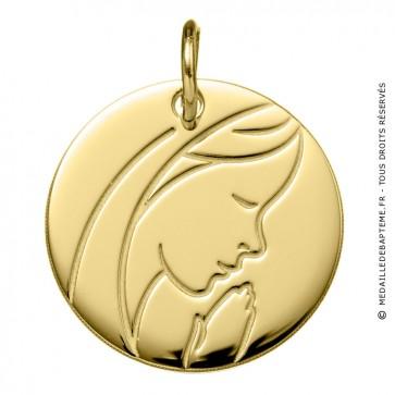 Médaille Madone en Prière (Or Jaune 9K)
