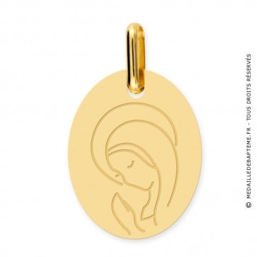 Médaille Vierge en prière ovale (Or Jaune 9K)