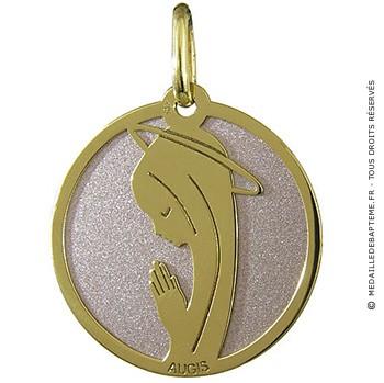 Medaille vierge en prière (Or Jaune et Acier)