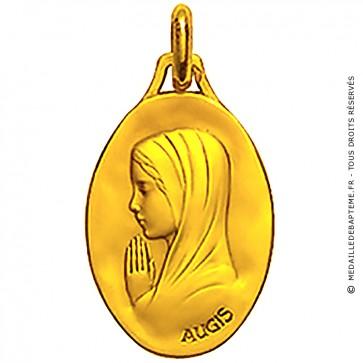Médaille Augis Vierge mains jointes ovale (profil gauche)