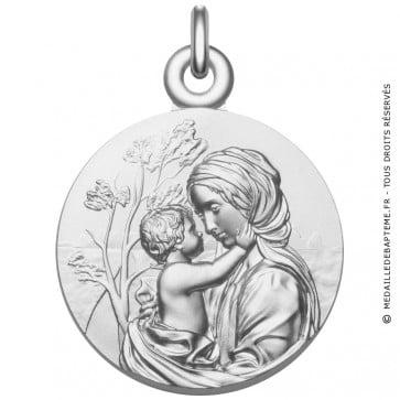 """Médaille Vierge à l'Enfant """"Le Regard"""" en argent"""