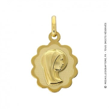 Médaille Vierge Ovale (Or Jaune 9 carat)