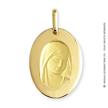 Médaille Vierge intaillée ovale (Or Jaune)