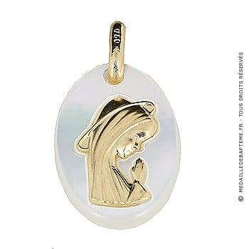Médaille Vierge Ovale Nacrée (Or Jaune