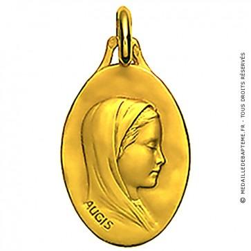 Médaille Augis Vierge au voile ovale (Or Jaune)