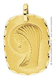 Médaille Vierge Rectangle (Or Jaune)