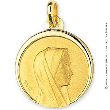 Médaille Vierge au voile bords polis (Or Jaune)