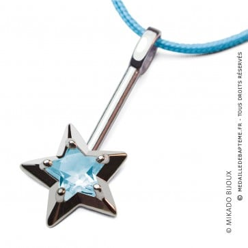 Pendentif Abracadabra Topaze Bleue (Argent)