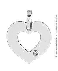 Pendentif Cœur Ajouré avec Diamant (Or Blanc)