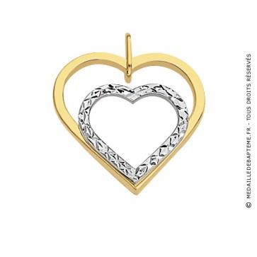 Pendentif Cœur Ajouré et Cœur Or Blanc Diamanté (Or jaune et Or blanc)