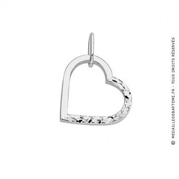 Pendentif Cœur Ajouré Lisse Diamanté (Or Blanc)
