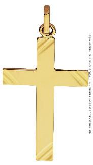 Pendentif Croix Diamantée striée GM (Or Jaune)