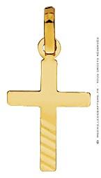 Pendentif Croix Diamantée striée (Or Jaune)