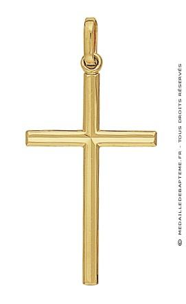 Pendentif Croix Fil Diamanté (Or Jaune)