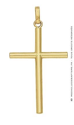 Pendentif Croix Fil Rond (Or Jaune)