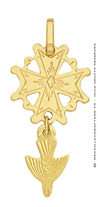 Pendentif Croix Huguenotte (Or Jaune)