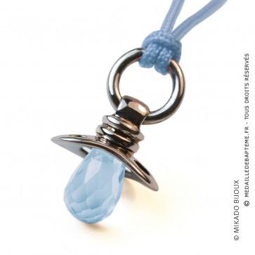 Pendentif Dummy Topaze Bleue (Or Blanc)