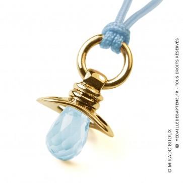 Pendentif Dummy Topaze Bleue (Or Jaune)