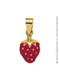 Pendentif Fraise Rouge (Or Jaune)