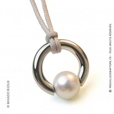Pendentif Moana (perle blanche d'eau douce) (Or Blanc)