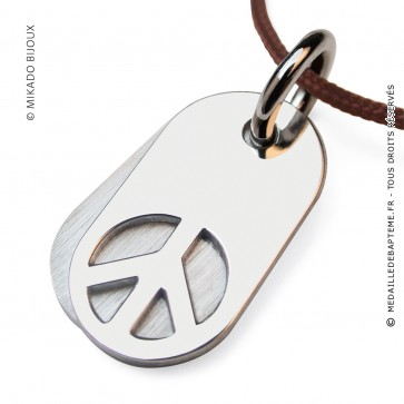 Pendentif Peace and Love - Woodstock (Argent)