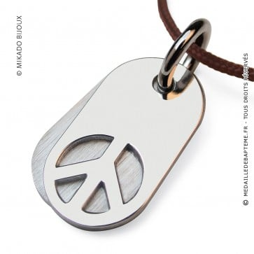 Pendentif Peace and Love - Woodstock (Or Blanc)