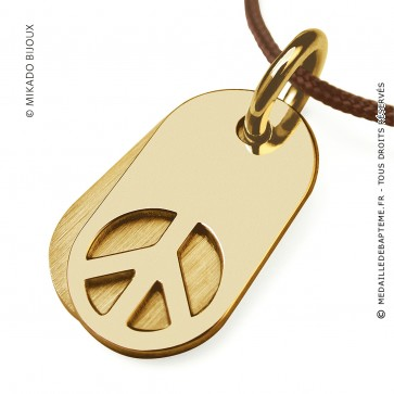 Pendentif Peace and Love - Woodstock (Or Jaune)