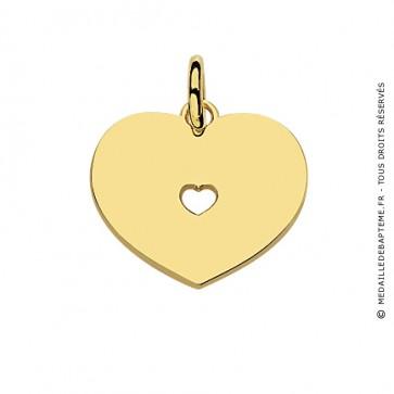 Pendentif Plaque Cœur + Cœur Ajouré (Or Jaune)
