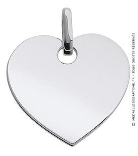 Pendentif Plaque Cœur (Or Blanc)