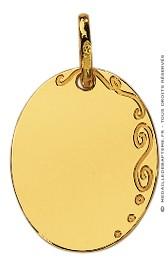 Pendentif Plaque Ovale avec Arabesque (Or Jaune)
