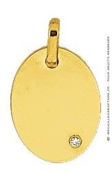 Pendentif Plaque Ovale avec Diamant (Or Jaune)
