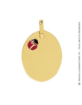 Pendentif Plaque Ovale & Coccinelle Rouge et Noire (Or Jaune)
