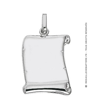 Pendentif Plaque Parchemin (Or Blanc)