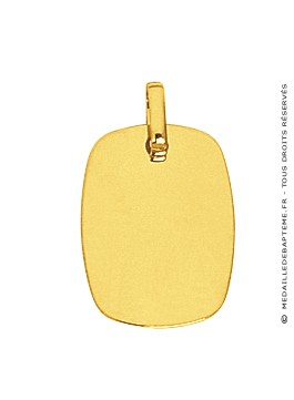Pendentif Plaque Rectangle aux Bords arrondis (Or Jaune)