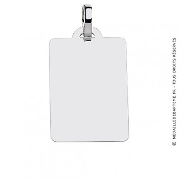 Pendentif Plaque Rectangle (Or Blanc)