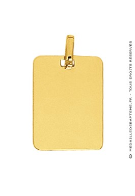 Pendentif Plaque Rectangle (Or Jaune)