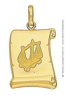 Pendentif Zodiaque Balance Parchemin (Or Jaune)